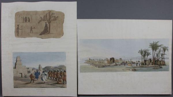 "4016: (3) Prints, ""Arabac Dance"", Ruins in Nubia, Nile"