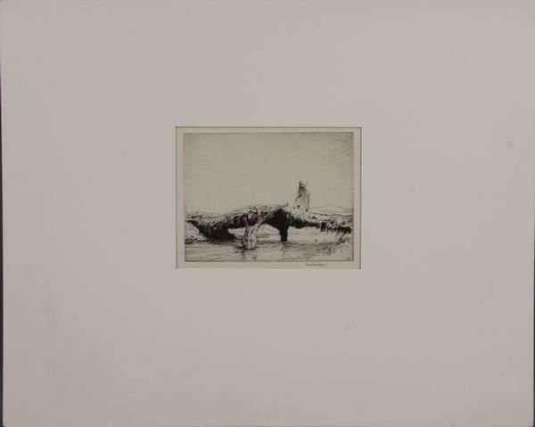 """4017: Charles Cain, Drypoint Etching of Arab """"Raider"""""""