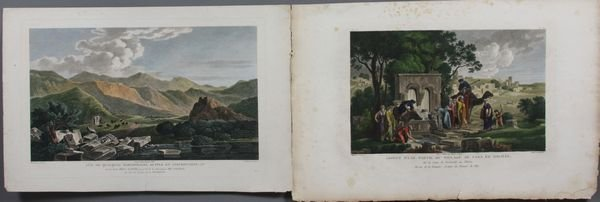 4018: (2) Prints, Vue de Sarcophages, Cana in Galilee
