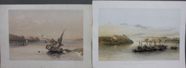 4023: David Roberts, (2) Prints, Ibrim Nubia, Esowan
