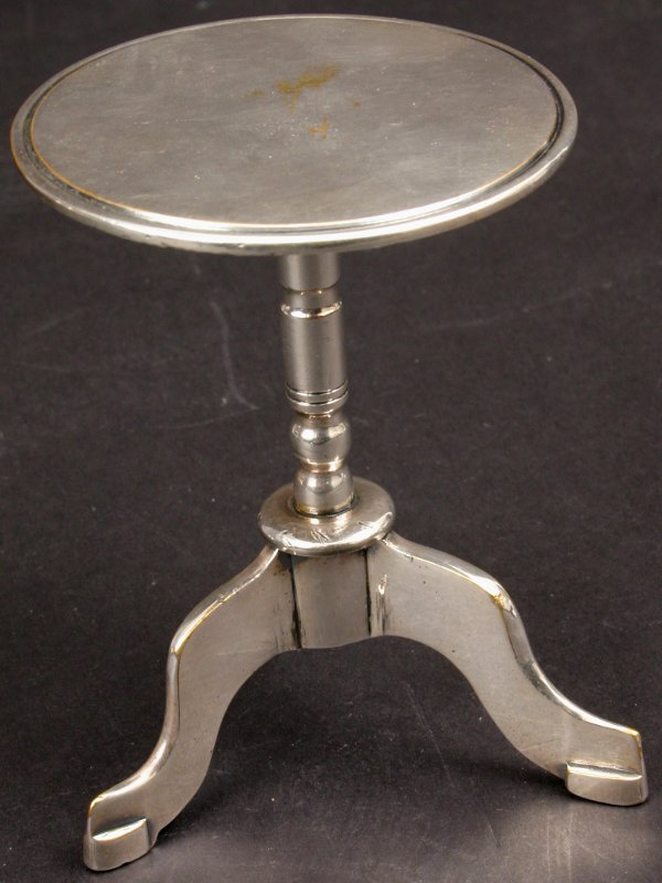 1: 19TH CENTURY MINIATURE SILVERPLATE TIP-TOP TABLE
