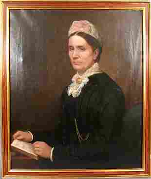 19TH CENTURY PETER LEON CASMARMON OIL CANVAS LADY