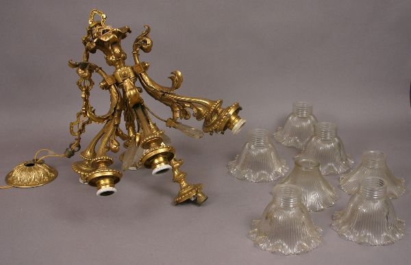 LATE 19TH/EARLY 20TH C. BRONZE DORE CHANDELIER