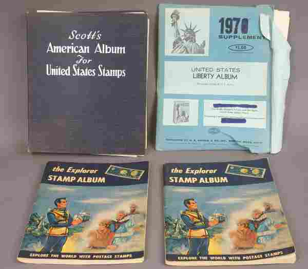 FOUR BOOKS OF AMERICAN AND FOREIGN STAMPS