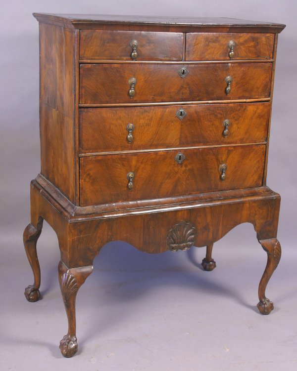 17: 18TH WALNUT CHEST ON STAND