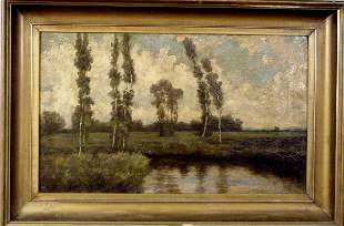 20TH CENTURY MID-WEST OIL ON CANVAS LANDSCAPE