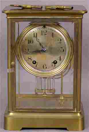 SETH THOMAS BRASS MANTLE CLOCK DATED 1880