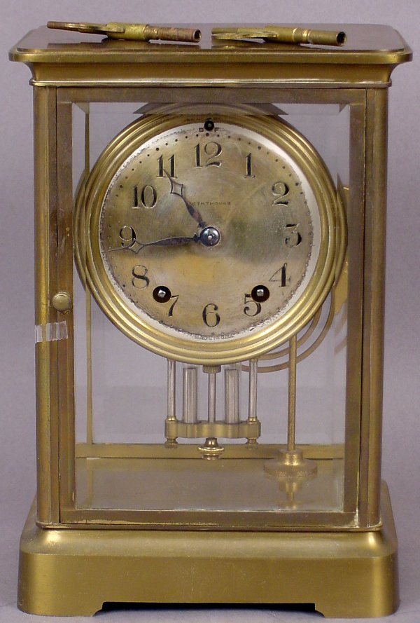 26: SETH THOMAS BRASS MANTLE CLOCK DATED 1880