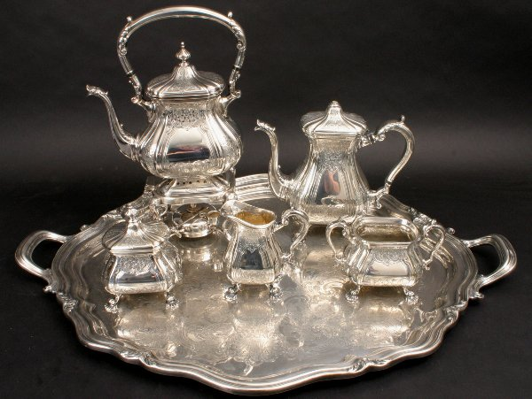 54: REED & BARTON SILVERPLATE TEA SERVICE WITH TRAY