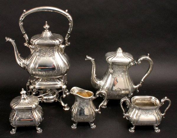 54: REED & BARTON SILVERPLATE TEA SERVICE WITH TRAY - 2