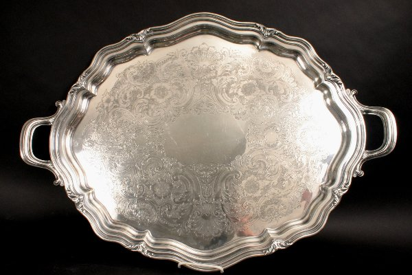 54: REED & BARTON SILVERPLATE TEA SERVICE WITH TRAY - 3