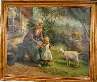 126: SIGNED LOUIS SOONIUS DUTCH FARM SCENE O/C 1932