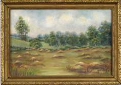 140 SIGNED CF SENIOR OIL ON CANVAS OF MEADOW