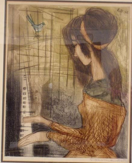 293: SIGNED ETIENNE RET LITHOGRAPH GIRL AT PIANO