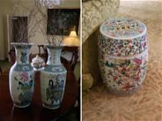 Chinese Famille Rose Garden Seat Famille Verte Vases