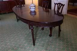 French regency style oval mahogany dining table