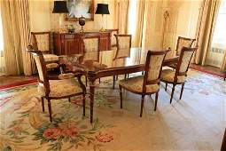 Regency style mahogany Gilt dining table with reeded