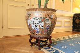 Chinese porcelain jardiniere on wooden stand 16x21