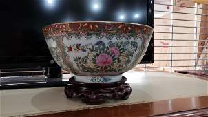 Chinese rose medallion punch bowl on wood stand H75