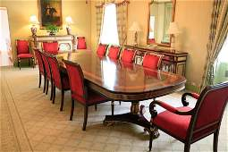 French style double pedestal dining table, 12 chairs