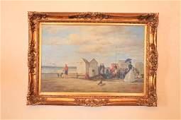 "Oil on canvas, beach scene, signed Robin Scott 32x43"""