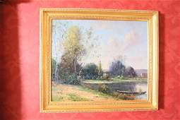 Barbizon style river landscape with boat signed Thayer