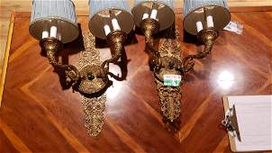 Pair of French style ornate bronze 6 light wall