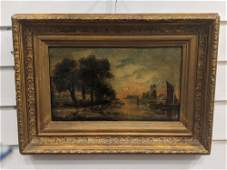 Dutch painting oil on canvas harbor scene