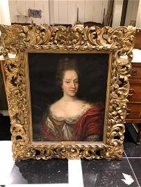 18th cent. Portrait, Oil on canvas, noble woman in red