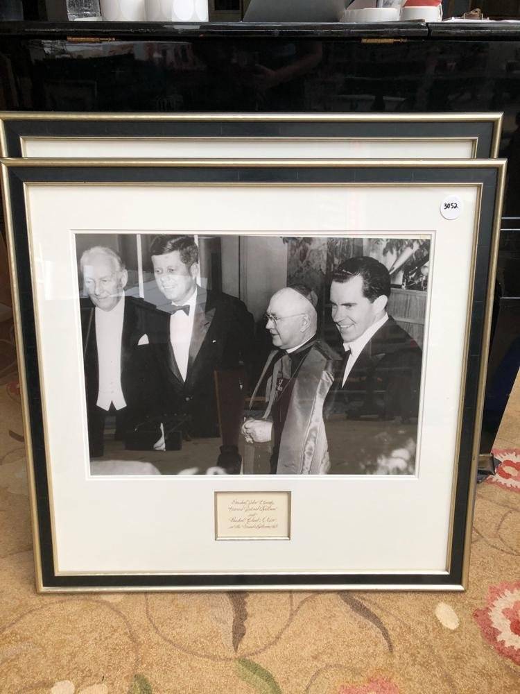 Large photograph of JFK and Nixon, in gold frames