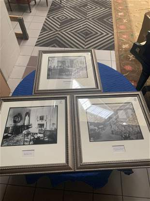 Lot of 3 photographs of interiors master bedroom of an