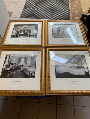 Lot4 photographs of interiors in gold frames