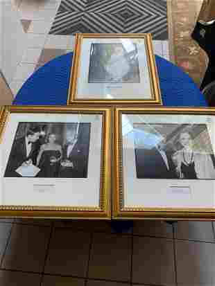 Lot3 photographs of celebrities in gold frames