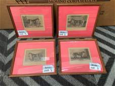 Lot of 4 framed equestrian prints with red matting