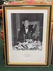 Winston Churchill, large framed photograph address at