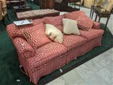 Sofa, Herringbone, pink fabric, 84 inches