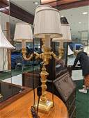 Lot of 2 brass and crystal lamps, 28 inches
