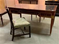 Regency style table desk with desk chair, regency style