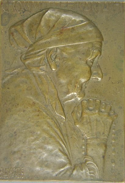 5004: Signed Arnold Hartig Bronze Plaque of Old Woman
