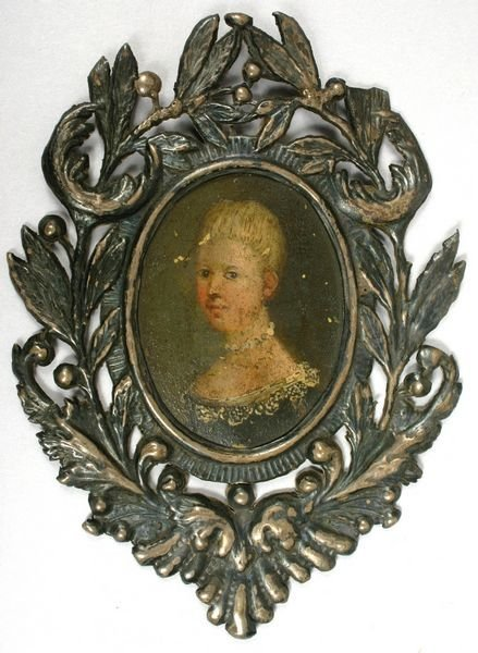5007: 18TH/19TH C. PORTRAIT ON BRASS IN SILVER FRAME