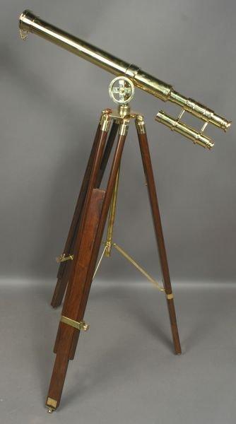 5009: 20th C. English Brass Telescope on Wood Tripod