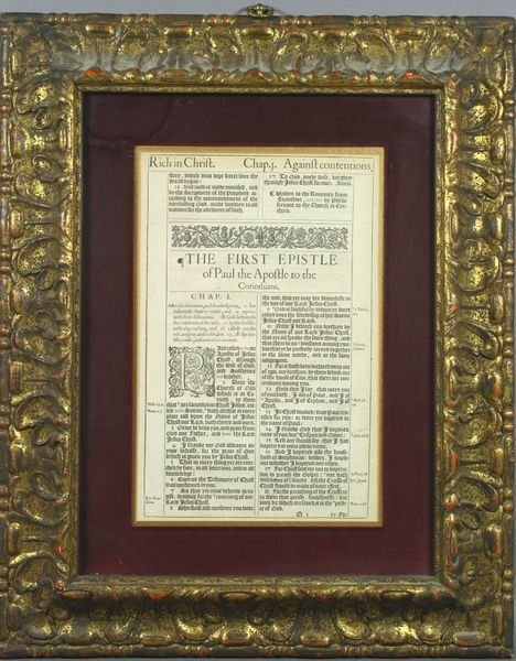 5017: RARE Early Bible Page, Framed