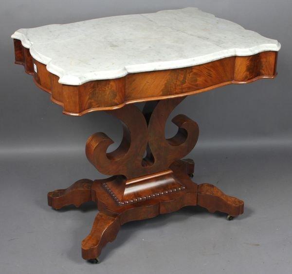 5008: Empire Marble-top Table w/ Mahogany Base