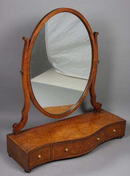 5015: 19/20th C. Federal Burl Walnut Shaving Mirror