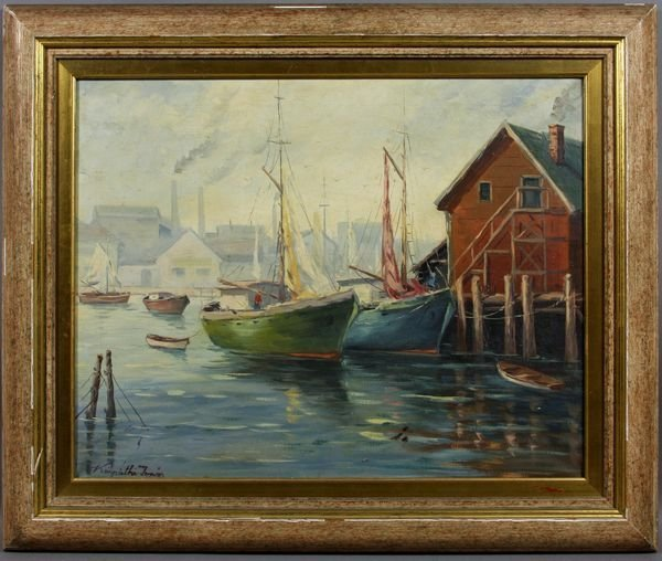 5016: Harbor Scene w/ Boats, o/c, Signed Indistinctly