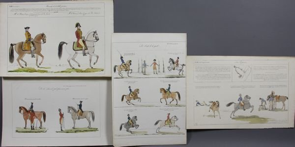 5022: (4) C1840 French Equestrian HC Lithographs