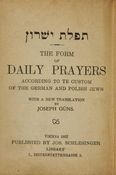 5298: Daily Prayer Book, German & Polish Jews, 1857 - 3