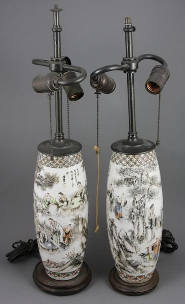 5345: Pair of 19th C. Chinese Porcelain Lamps