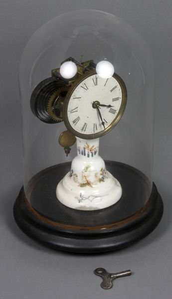 6008: 19th C. French Porcelain Candlestick Clock