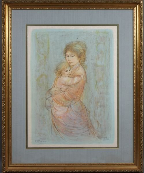 6024: Signed Edna Hibel, Mother and Child, Lithograph